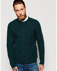 a5430bb25c6 Men's Dark Green Cable Sweaters by Asos | Men's Fashion | Lookastic.com