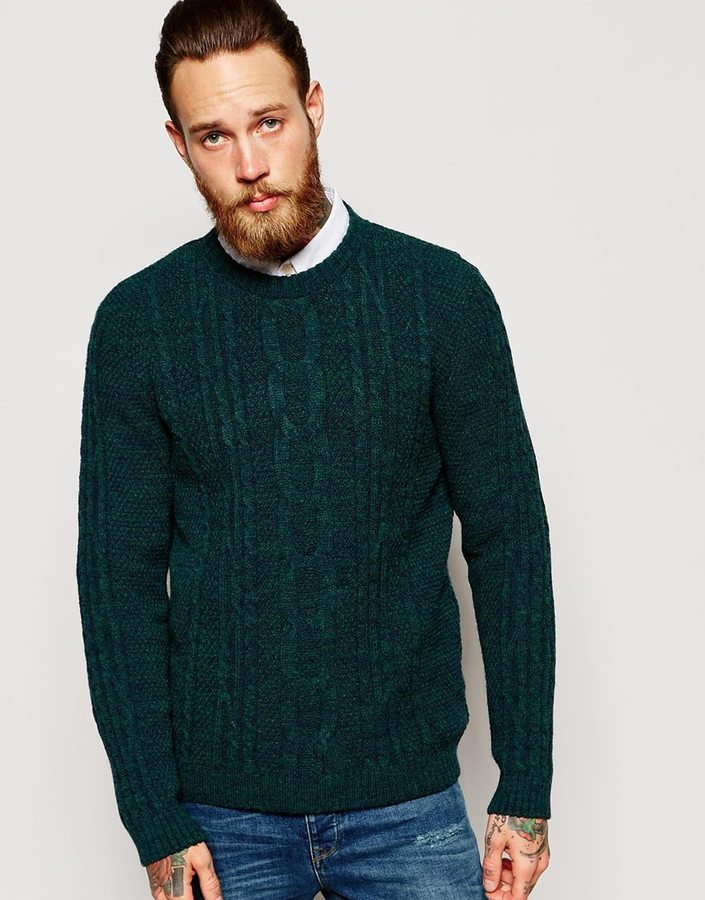 Asos Brand Cable Knit Sweater In Green Where To Buy How To Wear