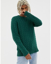 Tommy Jeans Cable Knit Flag Logo Jumper In Green