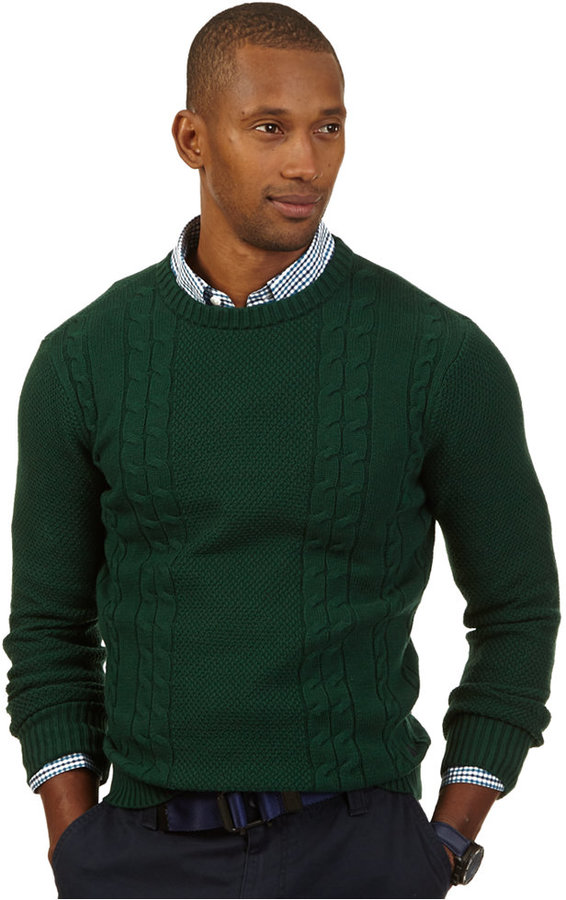 зелёный мужской свитер с чем носить это