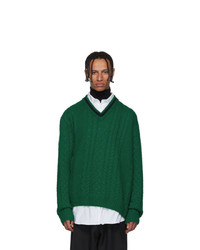 Lanvin Green Wool And Baby Alpaca V Neck Sweater