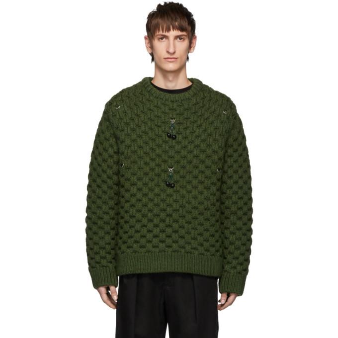 Raf Simons Khaki Wool Cherry Honey Stitch Sweater