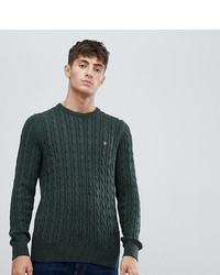 Farah Ludwig Cable Crew Neck Jumper In Green