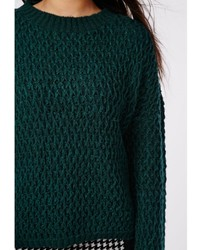 Missguided Plus Size Chunky Knit Sweater Forrest Green | Where to ...