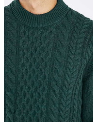 Topman Green Cable Knit Sweater, $70 | Topman | Lookastic