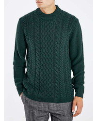 Topman Green Cable Knit Sweater