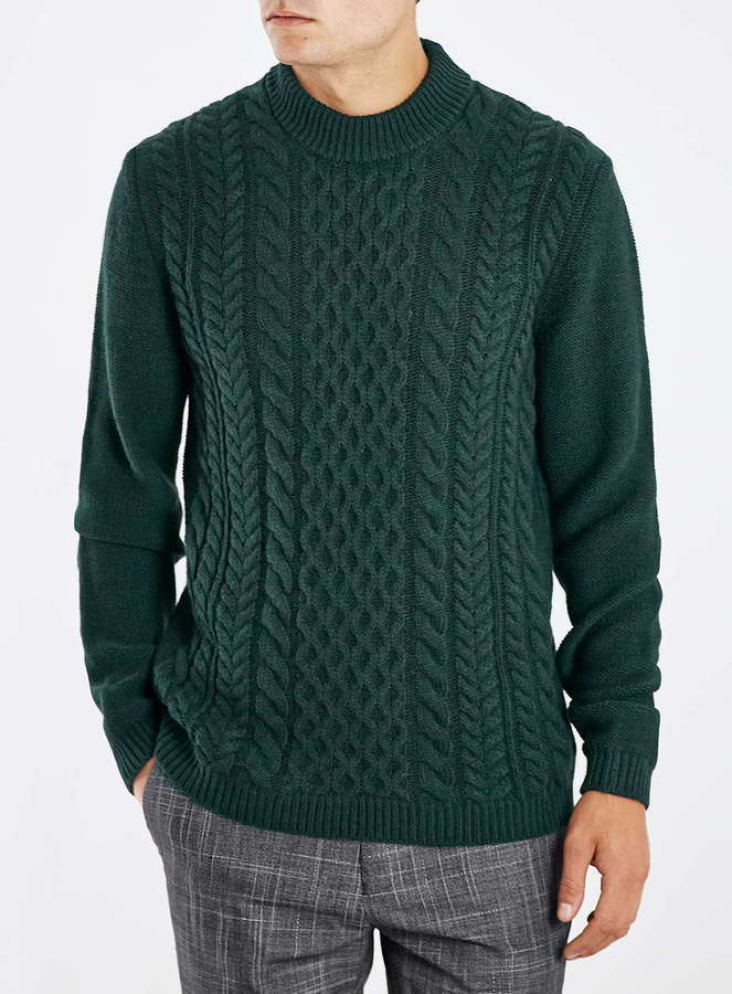 Topman Green Cable Knit Sweater Where To Buy How To Wear