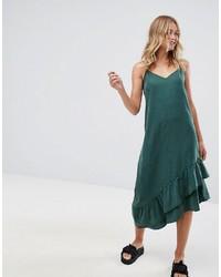 Monki Asymmetric Midi Slip Dress