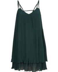 River Island Dark Green Pleated Cami Slip Dress