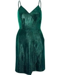 River Island Green Metallic Wrap Slip Dress