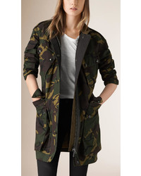 Burberry Brit Camouflage Print Cotton Field Jacket