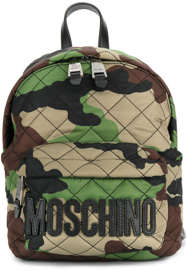 77ebb6806cad ... Moschino Camouflage Logo Plaque Backpack ...