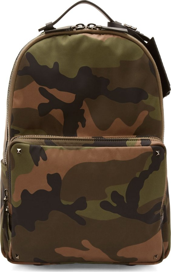 Valentino Green Camo Nylon Leather Backpack | Where to buy ...