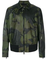 Dark Green Camouflage Bomber Jacket