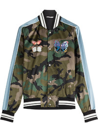 Valentino Camo Print Bomber Jacket With Patches
