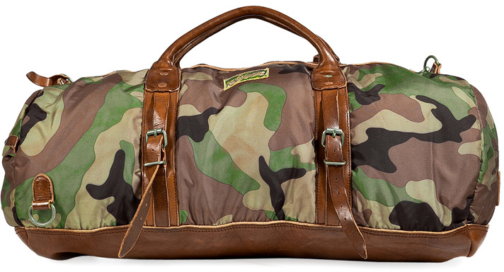 Polo Ralph Lauren Camo Print Duffle Bag With Leather Trim