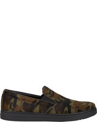 Dark Green Camouflage Canvas Slip-on Sneakers