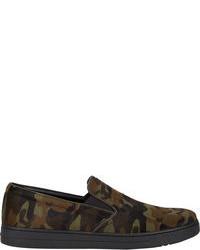 Dark Green Camouflage Canvas Slip-on Sneakers