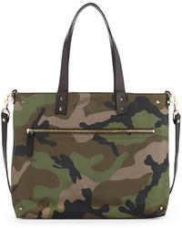Valentino Reversible Camouflage Nylon Tote Bag Bluegreen