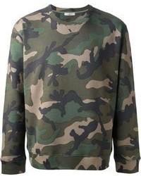 Dark Green Camouflage Crew-neck Sweater
