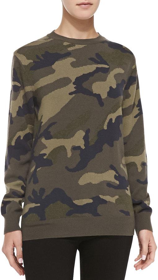 Camo Sweatshirt Valentino Cashmere Neiman 650 Pullover Knit 1 Pqx7fB