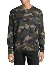 Valentino Camo Print Crewneck Sweatshirt Green
