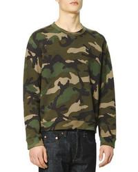 Valentino Camo Print Sweatshirt Green
