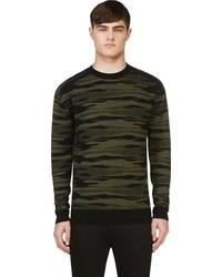 Diesel Black Gold Green Kattone Camo Knit Sweater