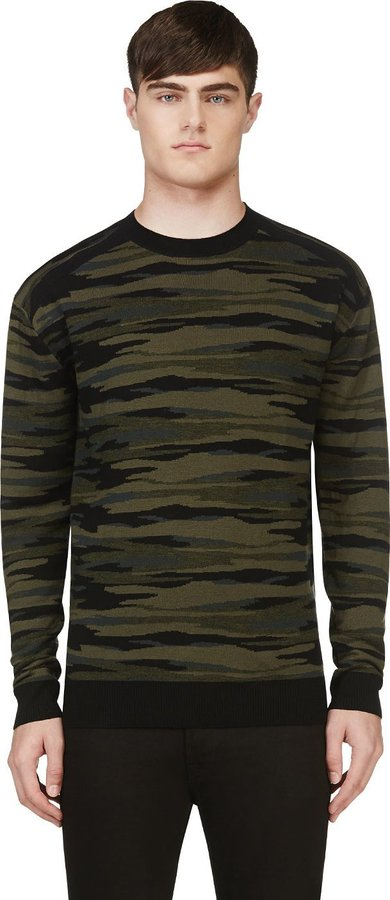 Diesel Black Gold Green Kattone Camo Knit Sweater | Where to buy ...