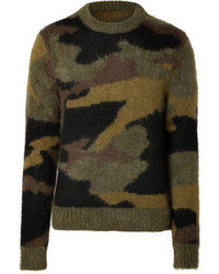 Michael Kors Michl Kors Mohair Wool Blend Camouflage Pullover In Military