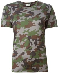Saint laurent camouflage print t shirt medium 196856