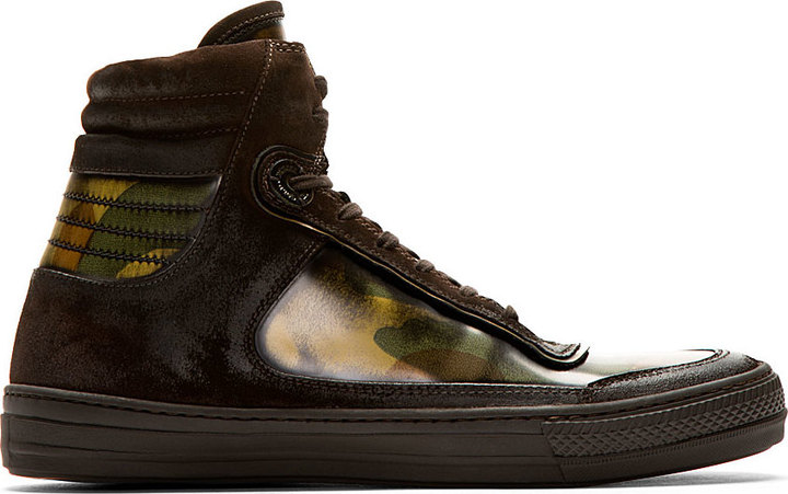 Diesel Black Gold Brown Suede Lacquered