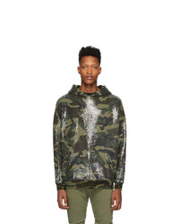 R13 Green Camouflage Sequined Hoodie