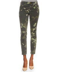 Current/Elliott The Stiletto Ankle Jeans Army Green Watercolor