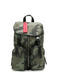 Dark Green Camouflage Leather Backpack