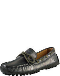 Dark Green Camouflage Leather Driving Shoes