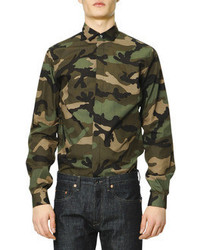 Dark Green Camouflage Long Sleeve Shirt