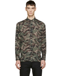 Brown green camouflage shirt medium 405416