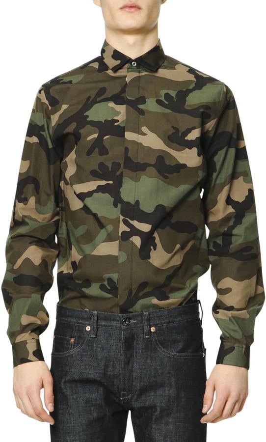 67a1a00c7024 Valentino Long Sleeve Camo Print Shirt Green, $590 | Neiman Marcus ...