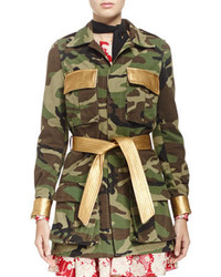 Camouflage belted military style jacket medium 142276