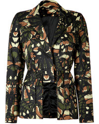 McQ by Alexander McQueen Camouflage Wing Print Cotton Cutaway Blazer