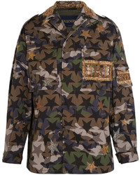 Valentino Embellished Camouflage Print Cotton Twill Jacket Army Green