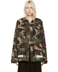 Green brown camouflage sahariana jacket medium 448604