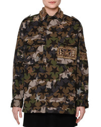 Star embroidered camouflage field jacket green camo medium 684940