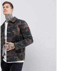 ASOS DESIGN Worker Jacket With Badges In Camo