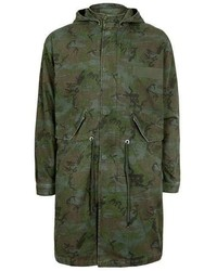 Dark Green Camouflage Parka