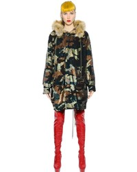 Ashish camouflage sequined faux fur parka medium 715411