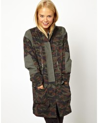 Asos Longline Camo Parka With Jersey Lining