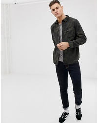 Barbour International Camo Overshirt In Olive