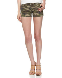 Fade To Blue Cutoff Dyed Denim Shorts Green Camo